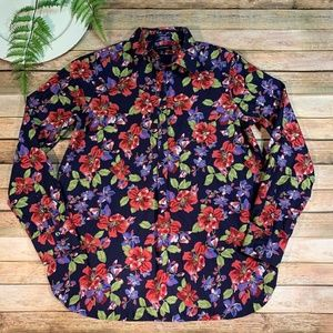 Lands End Womens 8 No Iron Supima Floral Blouse